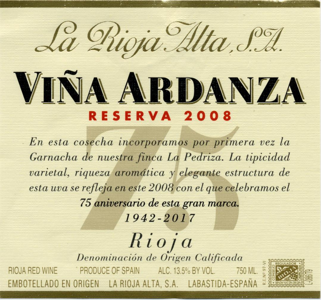 Rioja Reserva Vina Ardanza La Rioja Alta Skurnik Wines