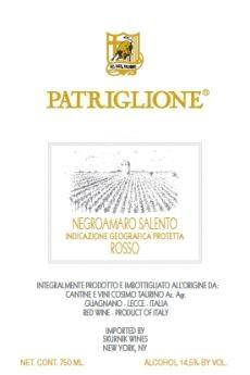 Negroamaro Salento 'Patriglione', Cosimo Taurino