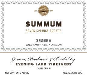 Chardonnay 'Summum', Evening Land