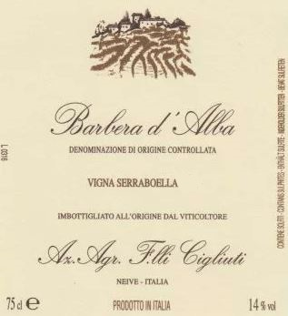 Barbera d'Alba 'Vigna Serraboella', Cigliuti