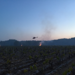 Helicopter hovering over Montlouis-sur-Lore, keeping the air stirred and helping vines stay warm