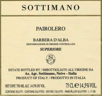 Barbera d'Alba Superiore 'Pairolero',  Sottimano