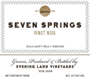 Pinot Noir 'Seven Springs', Evening Land
